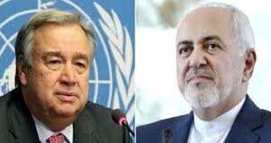 اعتراض ظریف به تعلیق حق رای ایران در سازمان ملل در نامهای به گوترش